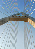 Below a pylon at Megyeri bridge Royalty Free Stock Photo