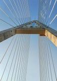 Below a pylon at Megyeri bridge. Megyeri bridge in hungary (almost Steven Colbert bridge Royalty Free Stock Photo