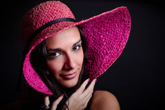 Below a straw hat Royalty Free Stock Images