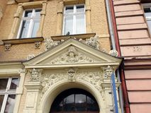 The town of Legnica. Poland Architecture and urban landscape of a small Polish town. Below view of the architecture of buildings of a small Polish town against royalty free stock photos