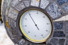 below zero Celsius according to analog thermometer Royalty Free Stock Image