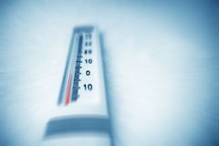 Below zero on thermometer. Stock Images