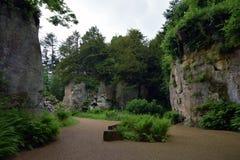 Belsay-Steinbruch-Garten in Nortumberland Stockfotos