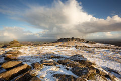 Belstone snow Stock Photo