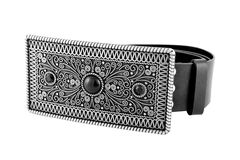 Belt. The woman's belt with beautiful buckle isolated background Stock Photos