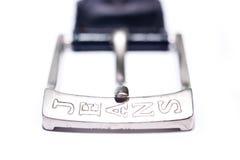Belt. Close up of old leather belt on white background stock images