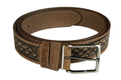 Belt. Brown belt isolated on white Stock Photography