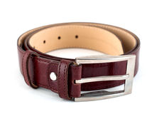 Belt. A brown belt isolated on a white background Stock Photos