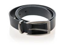 Belt. Black belt with stainless buckle isolated on white background Stock Photos