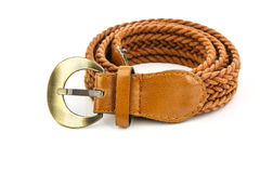 Belt. Brown belt on white background Royalty Free Stock Photos