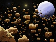 Belt of asteroids. Illustration of belt of asteroids in cosmos Stock Photography