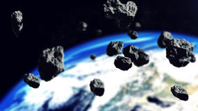 Belt asteroids in space. 3d rendering of Belt asteroids in space on the Earth planetbackground. Elements of this illustration furnished by NASA Royalty Free Stock Photography
