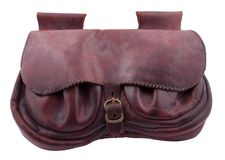 Belt bag XV century type replica. Bean shaped leather belt bag XV century type replica on white background Royalty Free Stock Photo