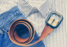belt with blue denim jean and shirt Royalty Free Stock Photos