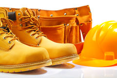 Belt boots hardhat. Studio shot belt boots hardhat isoalted on white background Stock Image