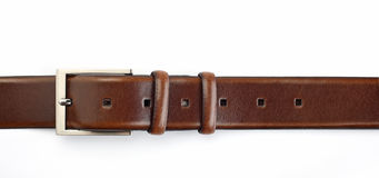 Belt. Brown leather belt isolated on white background Stock Photography
