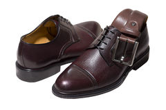 Belt and Brown leather shoes Stock Images