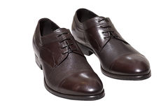 Belt and Brown leather shoes Stock Photos