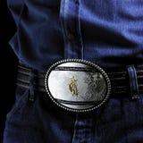 Belt buckle. Detail of a belt buckle cawboy Stock Photo