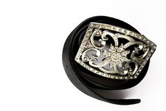 Belt buckle. Casual Belt buckle diamonds shiny wrapped around Stock Images