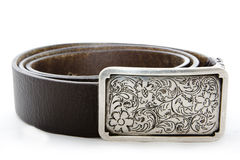 Belt and buckle. A leather belt isolated Stock Image