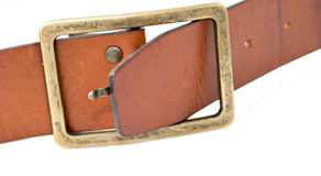 Belt buckle. Leather belt buckle on white background Stock Images