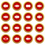 Belt buckles icon red circle set Stock Photography