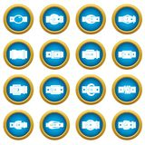 Belt buckles icons blue circle set Royalty Free Stock Photography