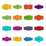 Belt buckles icons doodle set Royalty Free Stock Images