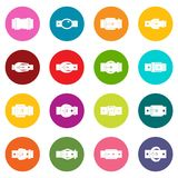 Belt buckles icons many colors set Stock Photos