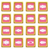Belt buckles icons pink Royalty Free Stock Images