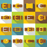 Belt buckles icons set, flat style Royalty Free Stock Photography