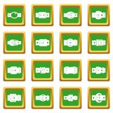 Belt buckles icons set green Royalty Free Stock Photo