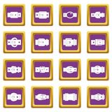Belt buckles icons set purple Royalty Free Stock Photography