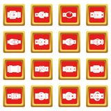Belt buckles icons set red Royalty Free Stock Photography