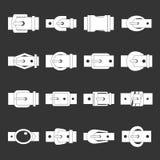 Belt buckles icons set grey vector. Belt buckles icons set vector white isolated on grey background Stock Image