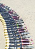 Belt of cartridges with bullets of large caliber razrvyh, night, armor-piercing for a helicopter. royalty free stock images