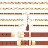 Belt on chain with a tassel, leather belt buttoned and chain Royalty Free Stock Photos