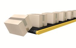 Belt Conveyor With Boxes Stock Images