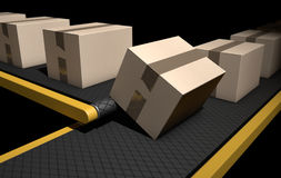Belt Conveyor With Boxes Stock Photo