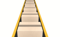 Belt Conveyor With Boxes Royalty Free Stock Photography