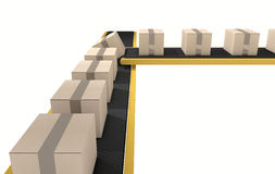 Belt Conveyor With Boxes Royalty Free Stock Photos