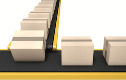 Belt Conveyor With Boxes Stock Image