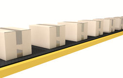 Belt Conveyor With Boxes Royalty Free Stock Image