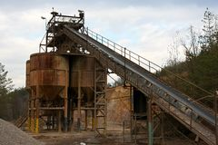 Belt conveyors in a gravel pit Royalty Free Stock Images