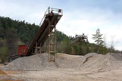 Belt conveyors in a gravel pit Royalty Free Stock Photography