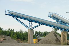 Belt conveyors - Mining in the quarry Royalty Free Stock Photography