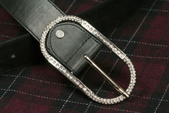 Belt with diamond buckle Royalty Free Stock Images