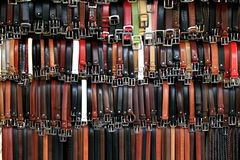 Belt Display in Florence stock image