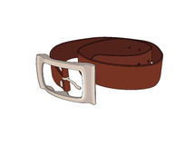 Belt. Drawing of a brown leather belt Royalty Free Stock Photography